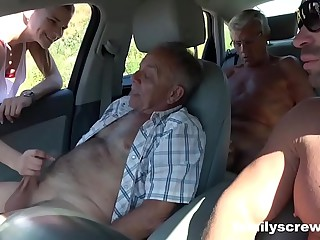 Street Battle-axe Going to bed with Grandpa, Son together with Uncle