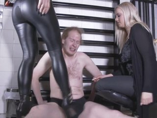 2 german goddesses forth boots ballbusting slay rub elbows with slave