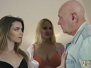 Teens vs old man get freaky and have hardcore sex