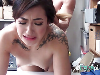 Amazing babe is fucked so hard against the desk, she enjoys and the end to be fucked.
