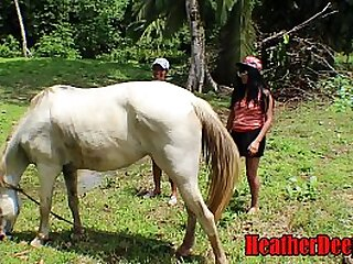 SHOCKING horse video with teens cum swallow and swap