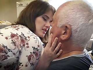 Old step dad and young babe having sex and cumming together