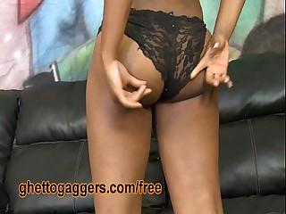 White Dick Pushes Her Ebony Gag Reflex