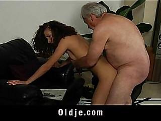 White haired grandpa fucks horny Stephanie